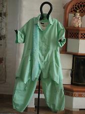 1950 LABASS Baumwoll Jacke Bluse Tunika mit Schal RENATE mint grün Gr. L 44 46