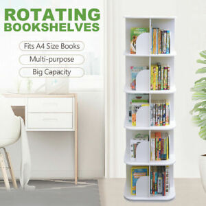 Square 5-Tier Swivel Rotating Storage Display Bookcase Bookshelf White 159cm
