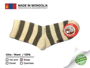 Made in Mongolia Sheep Wool Socks UNISEX Size US 4-6 EU 36-38 100% Natural