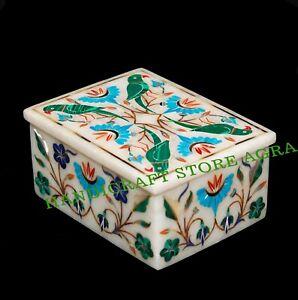 Marble jewelry Box Semi Precious Stone art handcrafted inlay work home decor