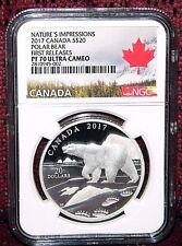 2017 CANADA $20 NATURES IMPRESSIONS POLAR BEAR SILVER COIN NGC PF 70 UC FR POP=1
