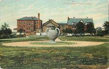 Topeka KS Giant Vase (Little Plant), Lean-To @ Christ's Hospital~1909 Postcard