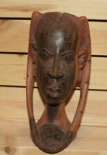 Vintage African hand carving wood woman head figurine