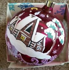 St. Peters Glass Ornament Hand Made In Russia 4 inch Ball Pink Cottage
