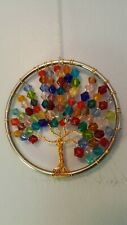 """Woven Wire-Gems TREE OF LIFE Sun-Catcher Hanger 3"""" Round Multi-Colored Branches"""