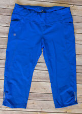 Athleta Dobby Be Free Side Pockets Cropped Capri Workout Pants Large Tall Blue
