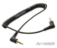 """5ft Right-Angle 3.5mm (1/8"""") Stereo TRRS 4-Pole Male/Male Coiled Audio Cable"""