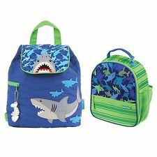 Stephen Joseph Boys Quilted Shark Backpack and Lunch Box - Kids Book Bags