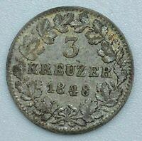 1848 Three Kreuzer State of Baden Germany Leopold Charles