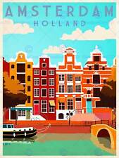 AMSTERDAM HOLLAND NETHERLANDS CANAL BRIDGE BOAT HOUSES ART PRINT POSTER BB9821