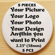 "5 Custom Print Personalised Pinback Pin Button Badge pinback 2.25"" (58mm) 5pcs A"