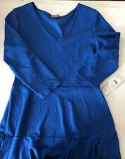 NY Collection Stretch A-Line Dress M Blue Quilted 3/4 Sleeve $69 new with tags