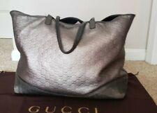 Gucci Silver Metallic Guccissima Leather Tote Bag XL 238695