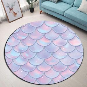 Mermaid Fish Scales Round Soft Carpet Living Room Area Rug Porch Floor Beach Mat