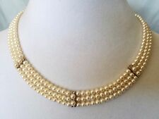 Vintage Solid 14k Yellow Gold Reversible Freshwater Three-Row Diamond Necklace
