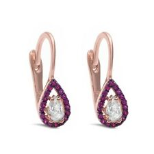 Rose Gold Plated Pear Shape Ruby & White Cz  .925 Sterling Silver Earring