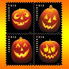 20 Halloween Carved Pumpkins Forever Postage Stamps USPS Jack O Lanterns Booklet