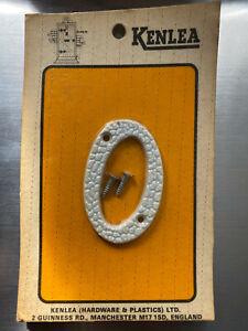 "White Rustic Style Numerals Plastic Door Number 2½"" (65mm).    No. 0"