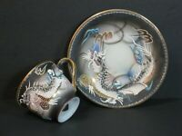 Vintage Sterling China Japan Moriage Dragon Demitasse Cup & Saucer Hand Painted!