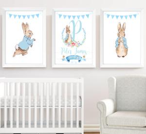 Peter Rabbit Nursery Prints Set Of 3, Boys Room Decor Wall Art Pictures, Baby