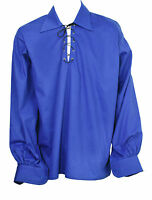 Schottisch Königsblau Jakobiten Ghillie Kilt Hemd Lederband Größe S,M,L,XL,XXL