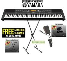 Yamaha PSR-EW300 SA 76-Key Portable Keyboard w/FREE Stand and Power Supply-BLACK