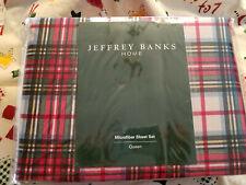 Jeffrey Banks Home ~ Queen ~ 4 piece Microfiber Sheet Set ~ Red Plaid