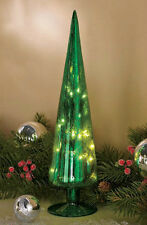 MERCURY GLASS LIGHTED CHRISTMAS TREE 'GREEN' SPARKLES DECORATION ORNAMENT NIB
