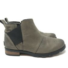 Sorel Women's Emelie Chelsea Grey Quarry Ankle Boots Size 8.5 Leather Waterproof