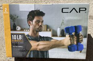 CAP 5 LB Pair Dumbbell Neoprene Blue Set Build Tone Pair Workout Easy Stack