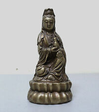 """ATTRACTIVE SMALL 5.5"""" VINTAGE CHINESE BRONZE """"KWAN-YIN"""" STATUE / FIGURINE"""