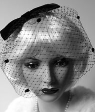 Vintage Inspired Black Fascinator Spot BIRDCAGE Veil Headpiece Black Velvet BOW