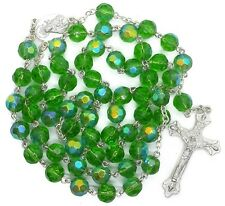 Catholic Rosary Necklace Green Crystal Glass Beads Holy Mary Medal & Cross NS
