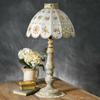 Country TABLE LAMP with DECORATIVE METAL SHADE Primitive Rustic Light Farmhouse