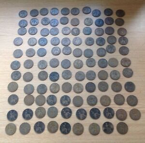 1900's to 1930's 109 One Penny Coins Edward VII George V Bundle Job Lot unsorted