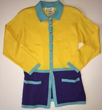 HTF!! ESCADA Colorblock Colorful Jacket Blazer Sweater Pockets Sz 34 VINTAGE