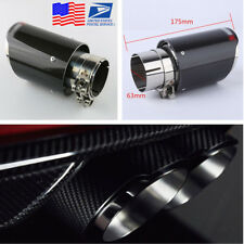 Real Carbon Fiber Steel Exhaust Pipe 63MM IN-89MM OUT Tail Muffler Tip For Cars