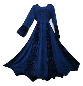 Maxi Winter Dress Velvet Embroidered Lace Up Long Sleeve Blue One Size 14 16