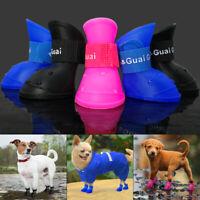 4pcs Waterproof Dog Rain Boots Non-Slip Small Medium Dogs Shoes Pet Snow Booties