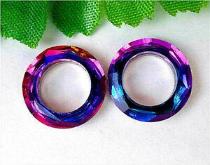 2Pcs 13x3mm Faceted Colourful Titanium Crystal Donuts Pendant Bead AP27285