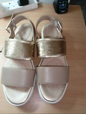 NEW Geox size 6 (39) D Wimbley Gold leather Sand Sequin Buckle Sandals