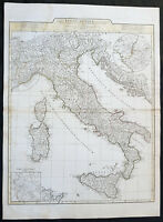 1764 J B D Anville Large Original Antique Map of Italy inset plan of Rome
