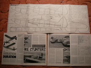 """Aeromodeller Plans of the Spitfires Mk 9 & Mk 14/18 CL scale & stunt 32"""" span"""