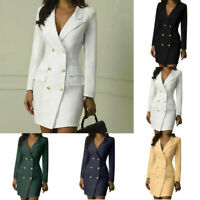 Plus Size Womens Long Sleeve Bodycon Dress Blazer Ladies Slim Work Formal Suits