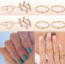 Rings Urban Gold Plated Crystal Plain Above Knuckle Ring Band Midi Ring 4PC GOLD