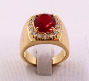 New Pretty Jewellery Natural 3.38ct Ruby 14k Solid Yellow Gold Ring Size 8.5#