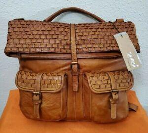 New Tulipani Women's Vintage Cognc Italian Leather Large Convertible Backpack