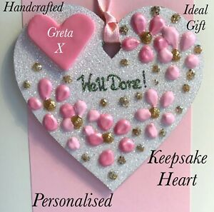 Well Done Keepsake Heart On A Greetings Card Personalised