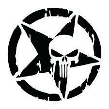 Auto Punisher Star Skull Pentagram Car Sticker Vinyl Decal Truck Window 13x13cm