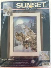 """Sunset Gallery Crewel Kit Winter Wolves 2001 dimensions 11"""" X 17"""" New in Pkg"""